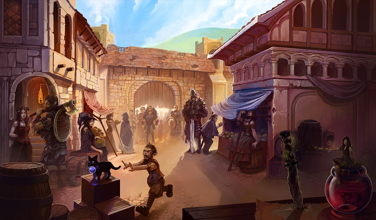 A Bustling Town Gate